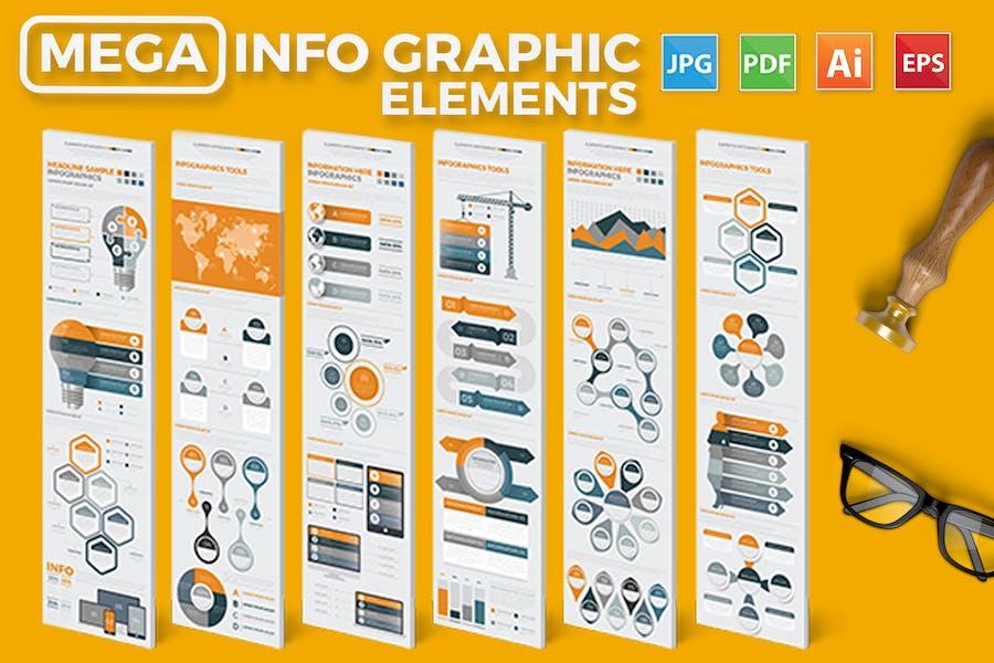 Mega Infographics Elements Design