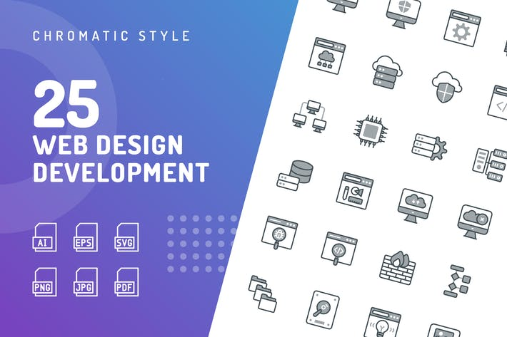Thumbnail for Web Design Development Chromatic Icons
