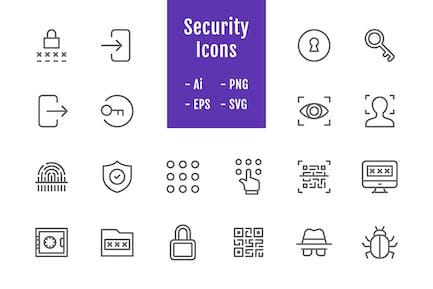 20 SicherheitssIcons (Linie)