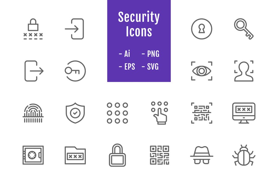 20 Security Icons (Line)
