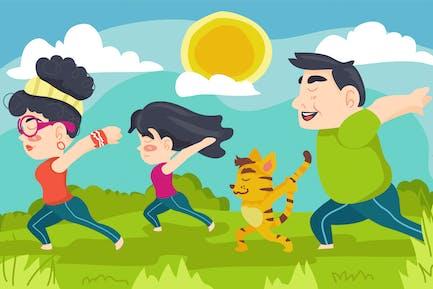 Yoga Exercise Kids Illustration