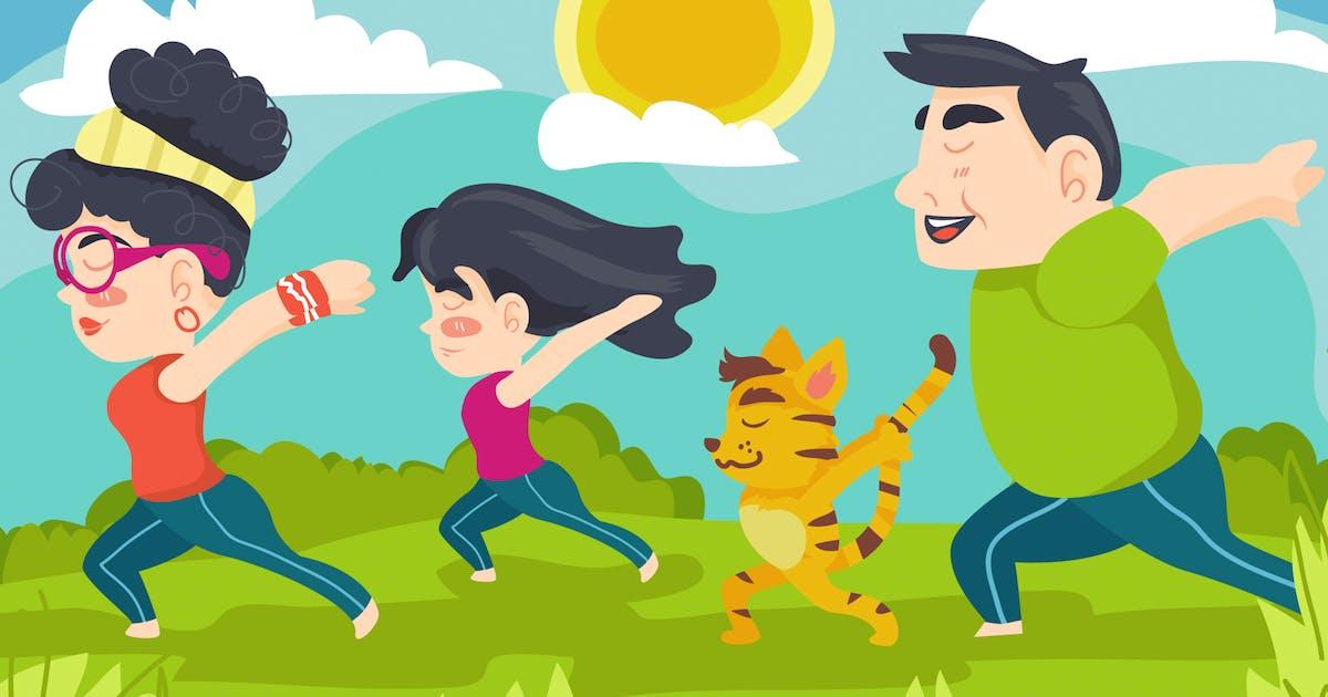 Download Yoga Exercise Kids Illustration by Slidehack