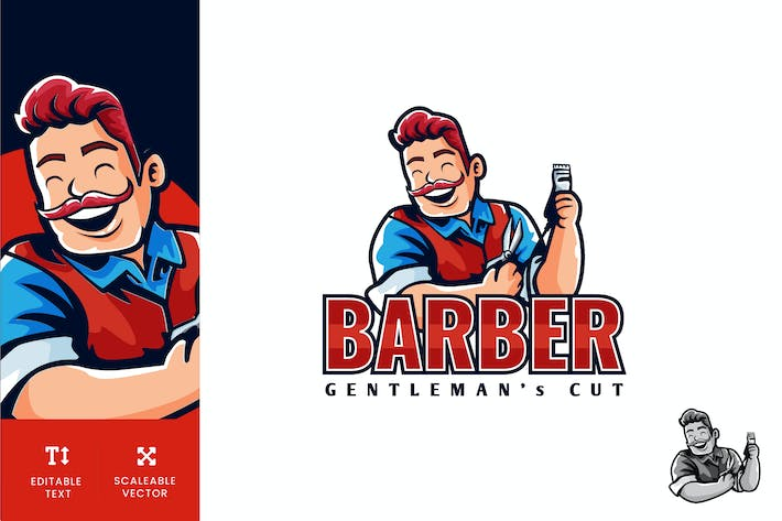 Thumbnail for Barber Gentleman Cut Logo Illustration Vector