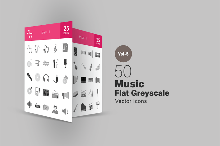 Thumbnail for 50 Music Greyscale Icons