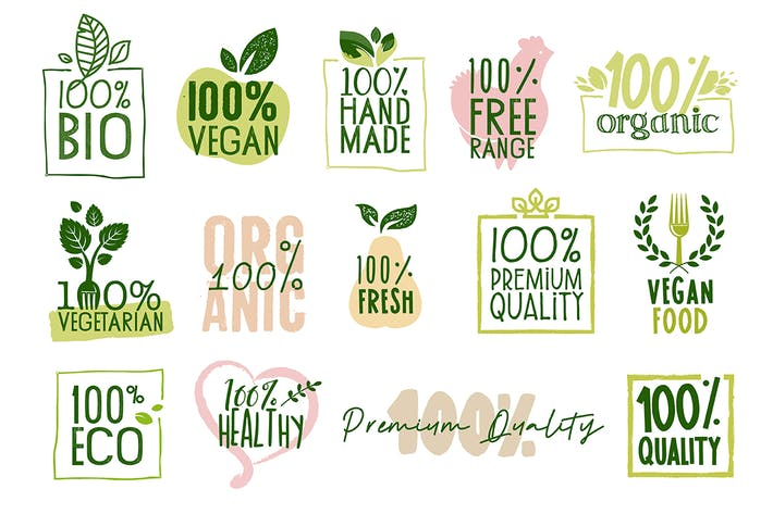 Cover Image For Organic Food Labels and Badges Collection