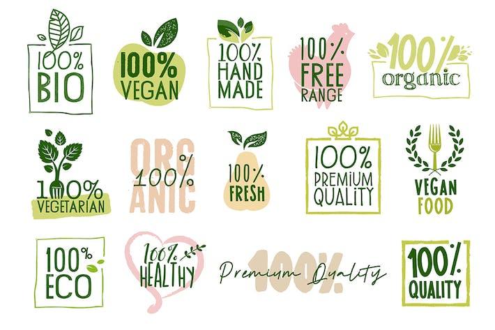 Thumbnail for Collection d'étiquettes et de badges alimentaires biologiques