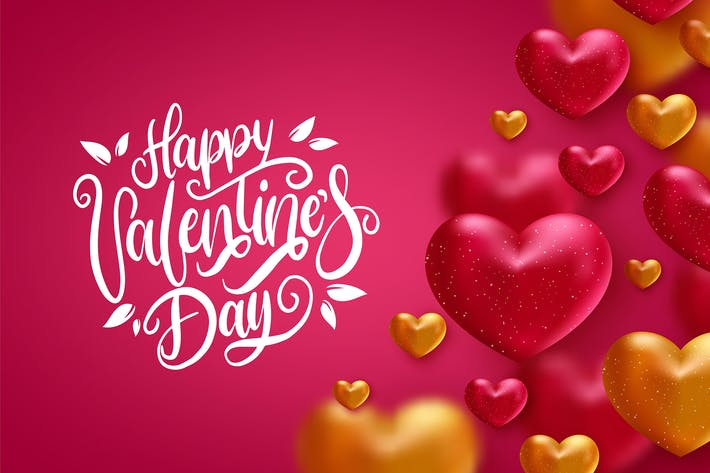 Happy valentines day greeting text with hearts
