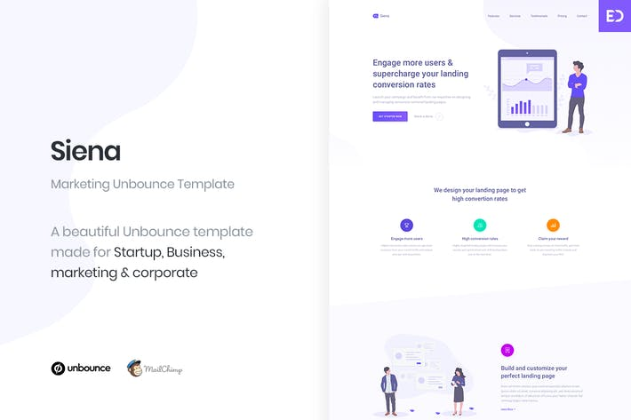 Thumbnail for Siena - Marketing Unbounce Landing Page Template