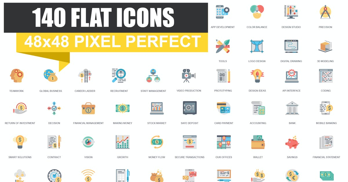 Download Set of Flat icons by alexdndz