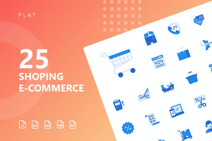 Thumbnail for Shopping E-Commerce Flat Icons