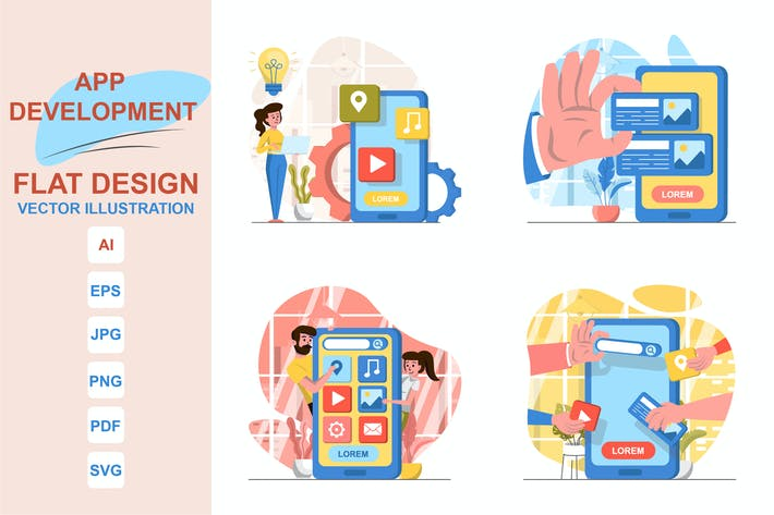 Illustrations App Development Flat Design Concept