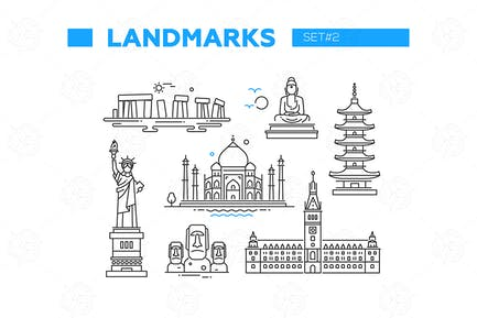 World Famous Landmarks - line design icons set