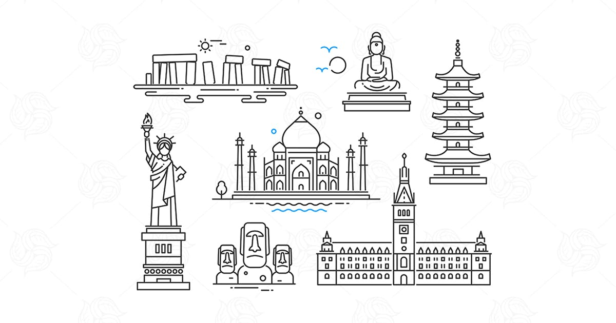 World Famous Landmarks - line design icons set by BoykoPictures