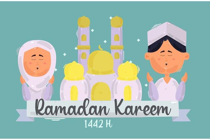 Ramadan Kareem Gruß Moslem Beten