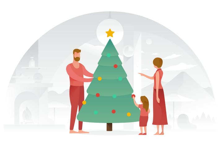 Thumbnail for Family decorating Tree Vector Illustrations