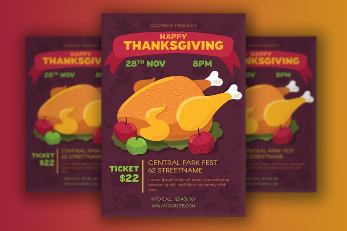 Thumbnail for Thanksgiving Poster With Turkey