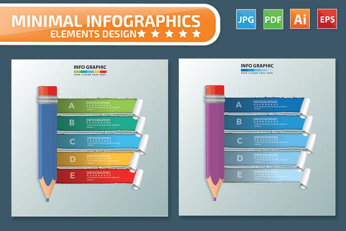 Thumbnail for Pencil infographic Design