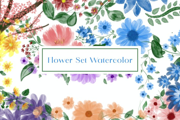 Thumbnail for 12 Flower Set Watercolor