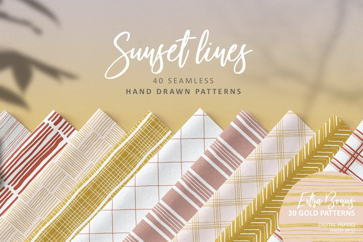 Thumbnail for Sunset Lines Hand Drawn Patterns