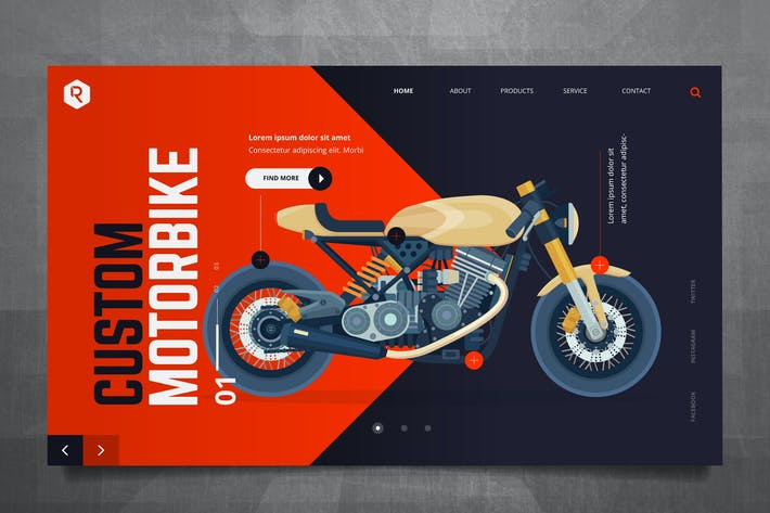 Thumbnail for Custom Bike Web Header PSD & Vector Template