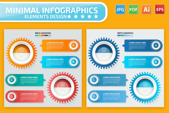 Thumbnail for Cog Infographic Elements Design