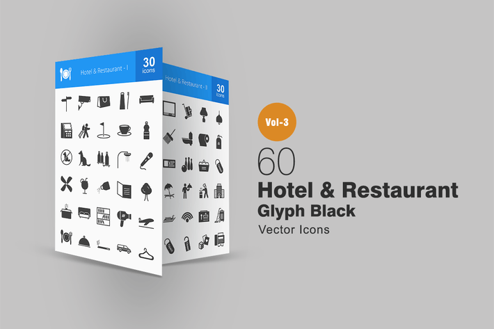Thumbnail for 60 Hotel & Restaurant Glyph Icons