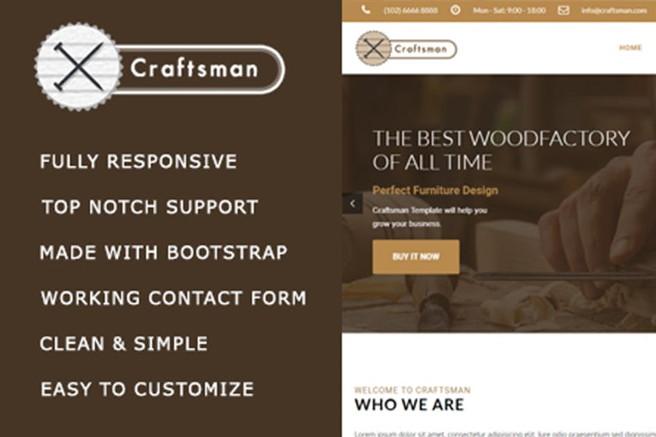 Download Craftsman - Carpentry/Woodwork HTML Template by max-themes