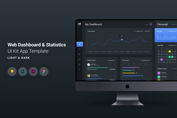 Thumbnail for Web Dashboard & Statistics UI Kit App Template 1