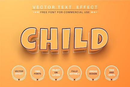 3D child - editable text effect, font style