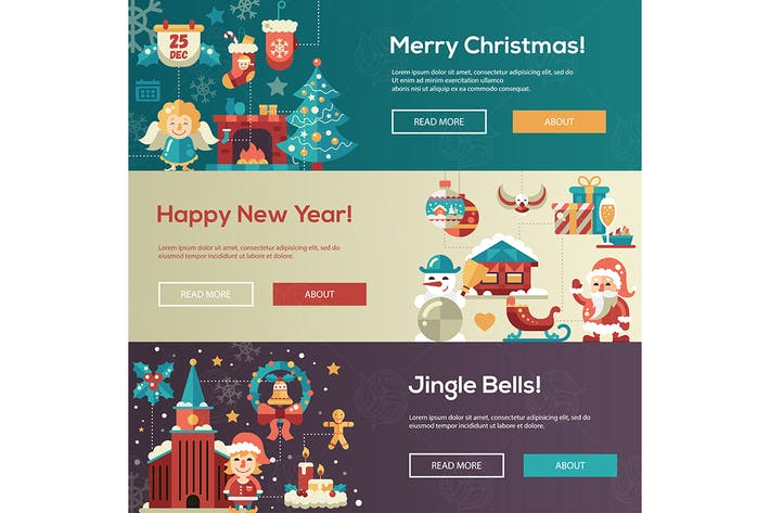 Cover Image For Christmas flat design website banners illustration
