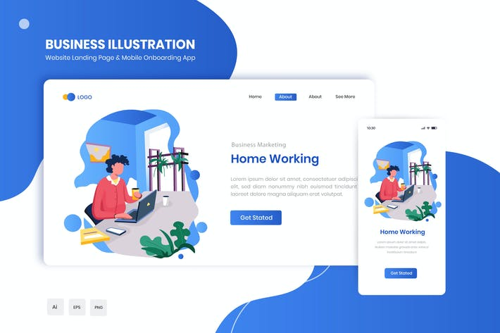 Thumbnail for Home Working Flat Landing & Onboarding App