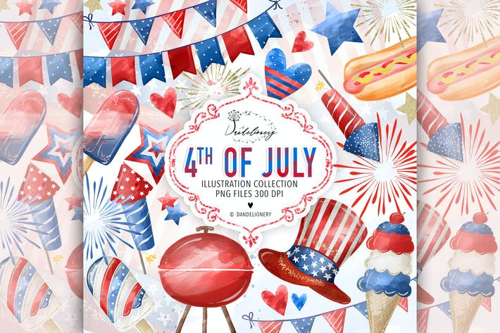 Thumbnail for Watercolor 4th of July Clipart