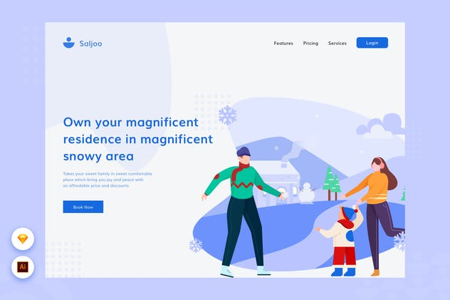Snow Family - Website Header Illustration
