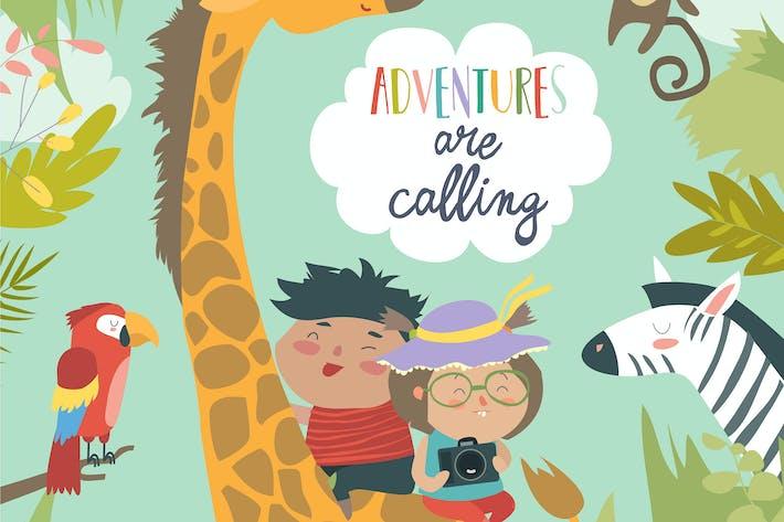 Thumbnail for Счастливые дети верхом жирафа с другими животными.