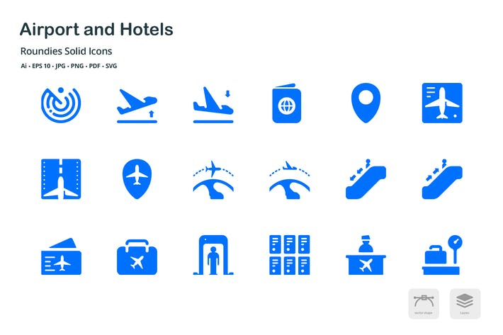 Thumbnail for Airport and Hotels Roundies Solid Glyph Icons