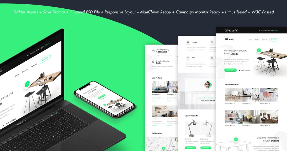Download Masy - Minimalistic Furniture Email + Builder by DynamicXX
