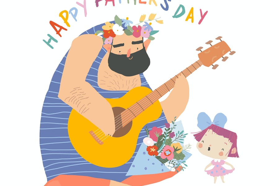 Happy Fathers day card. Father playing Guitar