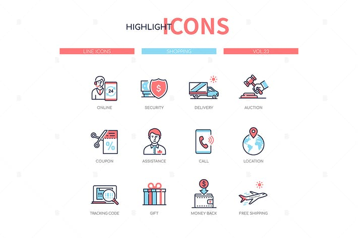 Thumbnail for Shopping concept - line design style icons set