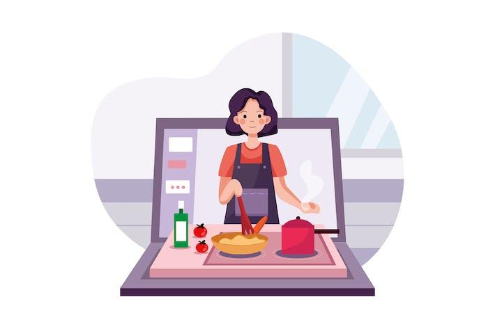 Online-Kurs mit einem Mädchen, das kocht