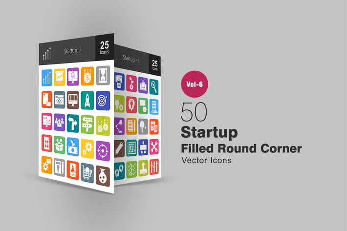Thumbnail for 50 Startup Filled Round Corner Icons
