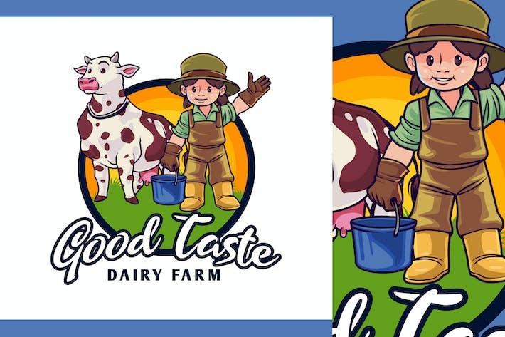 Thumbnail for Dairy Farm Kid Character Mascot Logo
