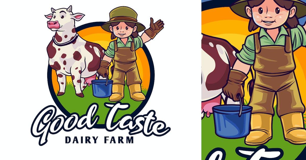 Download Dairy Farm Kid Character Mascot Logo by Suhandi