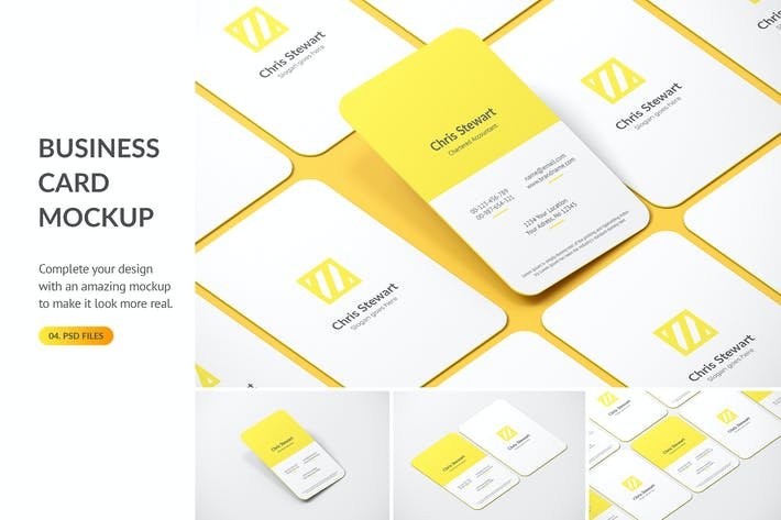 Thumbnail for Rounded Portrait Business Card Mockup