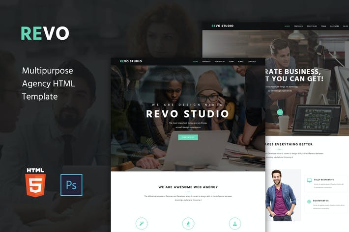 Thumbnail for Revo Studio -  Agency Onepage HTML Template