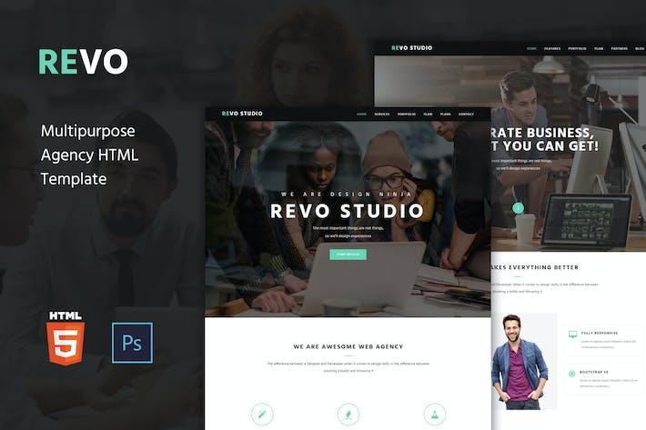 Thumbnail for Revo Studio - Агентство одностраничный HTML Шаблон