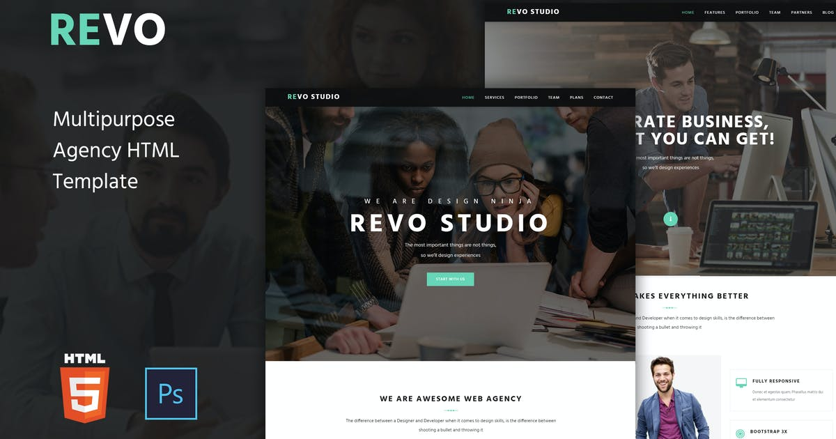 Revo Studio -  Agency Onepage HTML Template by murren20