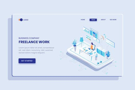 Freelance Work Isometric Vector Concept
