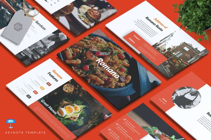 Thumbnail for ROMANO - Restaurant & Food Keynote Template