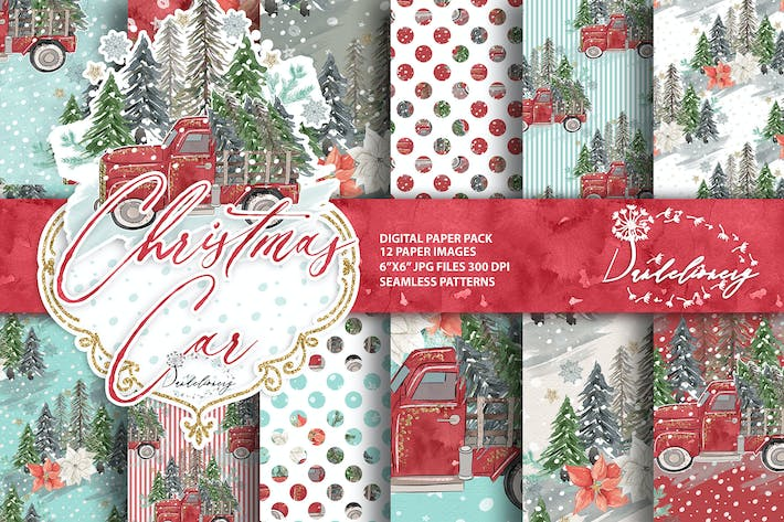 Thumbnail for Christmas Car digital paper pack