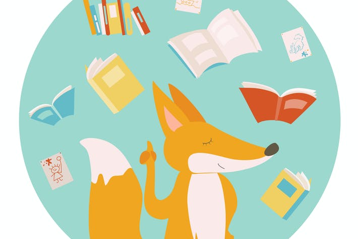 Thumbnail for Cartoon fox with color books. Vector